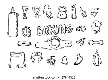 Boxing icons set. Punching bag, boxing glows, boxing shirts, boxing bell, boxing ring. Black and white boxing icons, hand drawn boxing elements vector stock illustration.