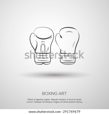 boxing isolated gloves sign template outline stock vector royalty