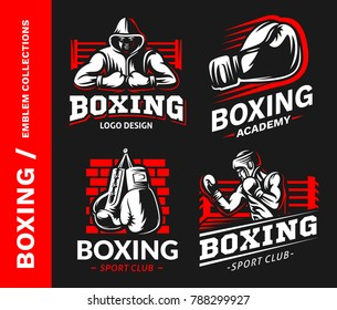 Boxing logo, emblem collections, designs templates on a black background