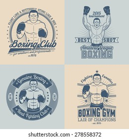 Boxing logo, emblem in retro style. Boxer in the corner, with raised hands.