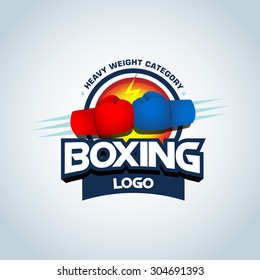 Boxing logo template. Two boxing gloves in red and blue colors. Boxing club logotype. Boxing emblem, label, badge, t-shirt design, boxing, fight theme.