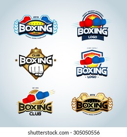 Boxing logo templates set. Red, blue and gold colors. Boxing club logotype. Boxing shield, emblem, label, badge, t-shirt design, boxing, fight theme. Vector illustrations.