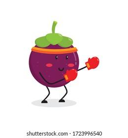 boxing mangosteen fruit cute character mascot vector design