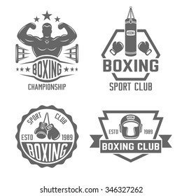 Boxing and martial arts, fighting club set of four vector monochrome labels, badges, emblems and logos isolated on white background