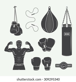 Boxing and martial arts logo badges, labels and design elements in vintage style. Vector illustration