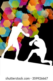 Boxing men in  abstract vector concept background illustration