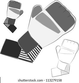 Boxing, MMA gloves. Vector illustration.