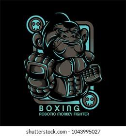 Boxing Monkey Illustration