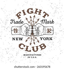 "boxing monochrome vector label , badge , logo  "" Fight Club "" for hipster  flyer, poster or t-shirt print with fist, lightning and text"