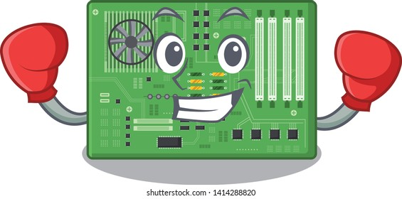 Boxing motherboard isolated with in the characater