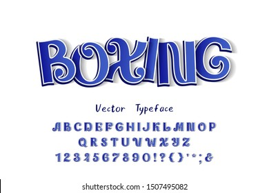 Boxing, ornate vector 3D typeface. Three dimensional uppercase English letters, numbers. Original font blue color gradient, white outline, transparent shadow. Retro alphabet for modern sports design
