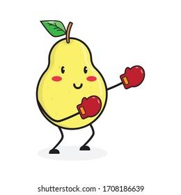 boxing pear fruit cute character mascot vector design