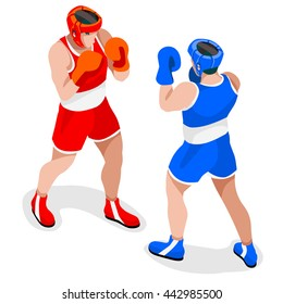 Boxing Players Fighting Sportsman Games Icon Set. 3D Isometric Boxer. Sporting Championship People Boxe Fight Match Competition. Sport Infographic events Boxing us election Vector Image