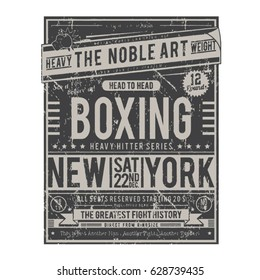 Boxing poster typography, tee shirt graphics, vectors