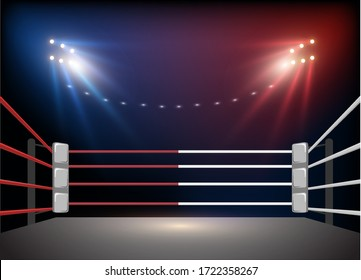 Boxing ring arena and floodlights Vector illumination eps 10