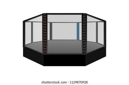 Boxing ring arena vector design. MMA octagon ring. illumination