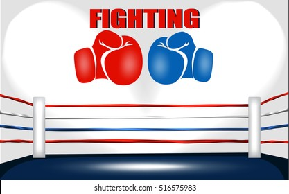 boxing ring with big glove icon and a fighting word