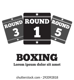 Boxing Ring Board. Round one. Boxing design over white background vector illustration.