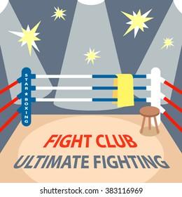 Boxing ring. Cartoon background. Flat vector illustration.