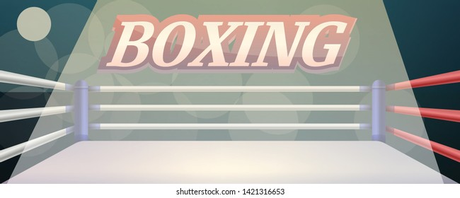 Boxing ring concept banner. Cartoon illustration of boxing ring vector concept banner for web design
