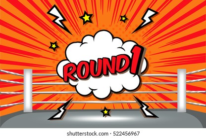 boxing ring corner with comic style ROUND1