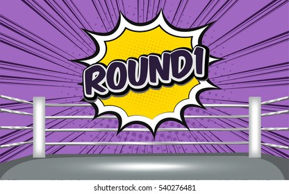 boxing ring corner with purple tone comic style round1
