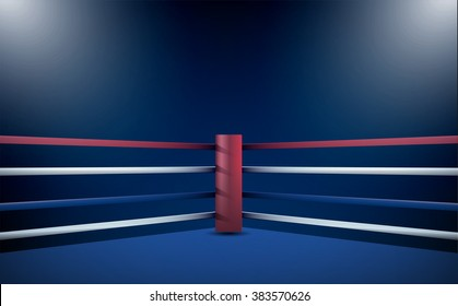 Boxing ring and floodlights vector design