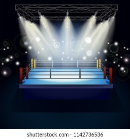 Boxing ring with illumination by spotlights. Arena for box sport 3d realistic vector illustration