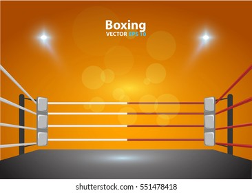 boxing ring with illumination by spotlights. vector design. EPS 10
