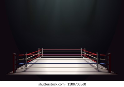 Boxing ring isolated on black abstract background lit by a spotlight, vector illustration