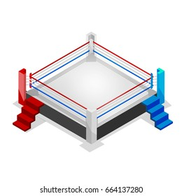 Boxing ring for sparring and competition, 3d vector isometric sport icon on isolated background