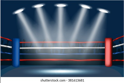 Boxing ring surrounded by crowd.