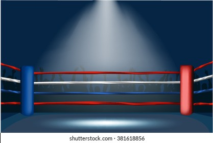 Boxing ring surrounded by crowd with wide spotlight.