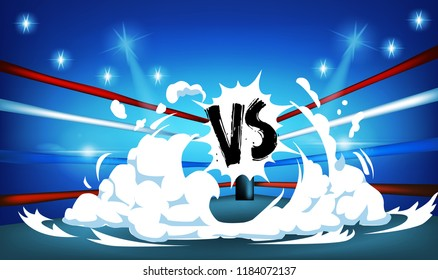 Boxing ring surrounded by ropes spotlit on and white smoke with blue background
