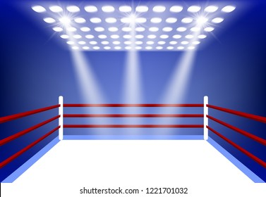 boxing ring surrounded by a spotlight on a dark blue background and white floor. cartoon vector illustration