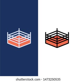 Boxing, Ring, Wrestling  Icons. Flat and Line Filled Icon Set Vector Blue Background