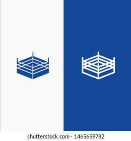Boxing, Ring, Wrestling Line and Glyph Solid icon Blue banner Line and Glyph Solid icon Blue banner. Vector Icon Template background