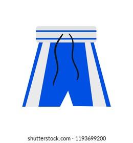 Boxing shorts. Blue boxing shorts. Sport. Vector illustration. EPS 10.