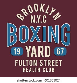 Boxing sport athletic fighting typography, tee shirt graphics, vectors