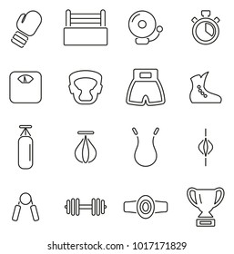 Boxing Sport & Equipment Icons Thin Line Vector Illustration Set