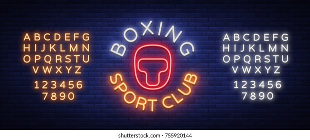 Boxing sports club logo sign in neon style, vector illustration. Emblem, a symbol for a sports facility on a boxing theme. Neon banner, bright nightlife advertisement. Editing text neon sign.