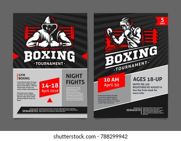 Boxing tournament posters, flyer with boxer in the ring - template vector design