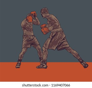 Boxing. Two Boxers Are Fighting In The Ring. Drawing Style. Vector illustration.