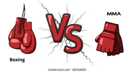 Boxing versus Mixed Martial Arts. Boxing gloves and mma gloves. Flat vector illustration isolated on white