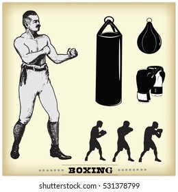 Boxing. Vintage style illustration