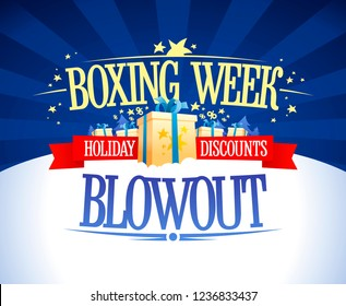 Boxing week blowout sale vector banner concept, holiday discounts