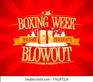 Boxing week blowout sale vector design, holiday discounts