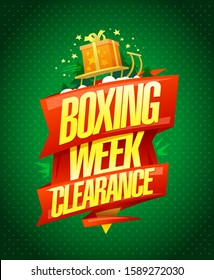 Boxing week clearance sale, vector poster design