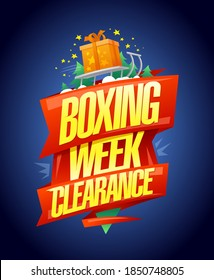 Boxing week clearance sale, vector banner design