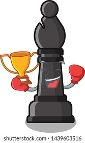 Boxing winner bishop chess in the cartoon shape